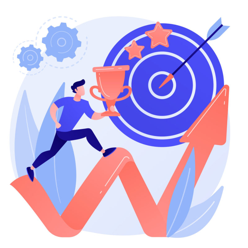 Personal growth motivation. Career ambitions, proactive mindset, goals setting. Man planning high achievements, boosting leadership skills. Vector isolated concept metaphor illustration
